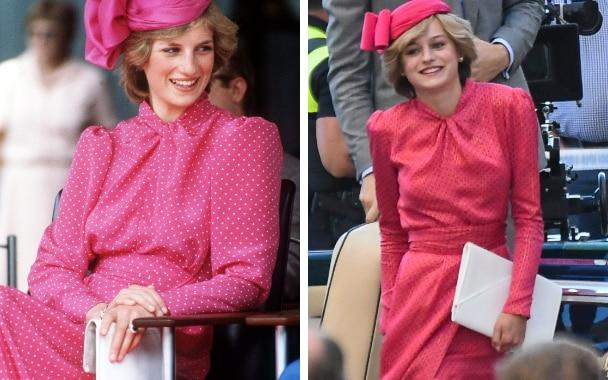 Princess Diana in Perth in 1983/ Emma Corrin filming scenes for series four of The Crown