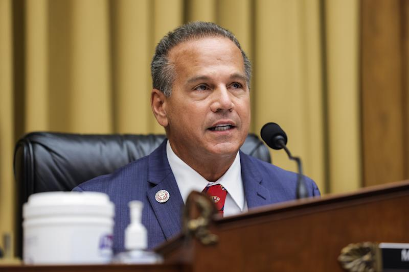 """Commercial and Administrative Law House Subcommittee Chairman David N. Cicilline speaks during an Antitrust, Commercial and Administrative Law Subcommittee hearing, on Capitol Hill, in Washington, Wednesday, July 29, 2020, on """"Online Platforms and Market Power"""" in the Rayburn House office Building on Capitol Hill in Washington, DC on July 29, 2020. (Photo by Graeme JENNINGS / POOL / AFP) (Photo by GRAEME JENNINGS/POOL/AFP via Getty Images)"""