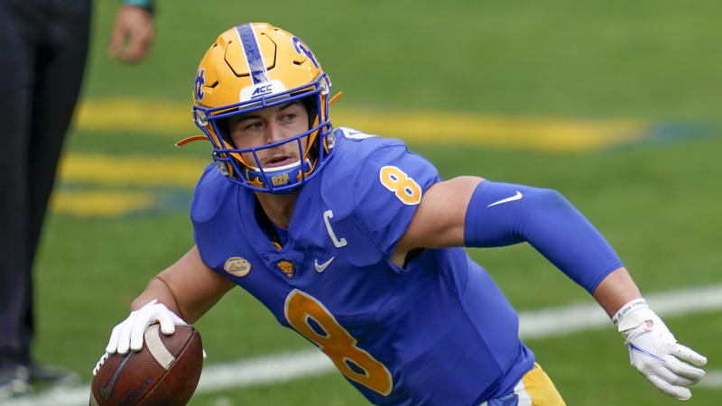 Pittsburgh Panthers quarterback Kenny Pickett (8) plays against North Carolina State during an NCAA college football game, Saturday, Oct. 3, 2020, in Pittsburgh. (AP Photo/Keith Srakocic)