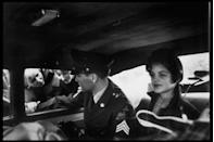 """<p>While living on the German army base, <a href=""""https://www.biography.com/news/elvis-priscilla-presley-relationship-marriage-divorce"""" rel=""""nofollow noopener"""" target=""""_blank"""" data-ylk=""""slk:Presley met 14-year-old Priscilla Beaulieu"""" class=""""link rapid-noclick-resp"""">Presley met 14-year-old Priscilla Beaulieu</a>, who was living there with her parents. The two began a relationship, despite their 10-year age difference.</p>"""