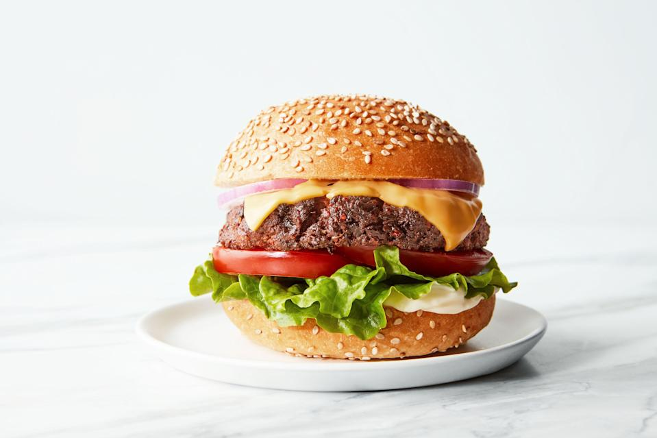 "These 10-ingredient gluten-free and vegan burgers are <a href=""https://www.epicurious.com/expert-advice/homemade-frozen-veggie-burger-technique-article?mbid=synd_yahoo_rss"" rel=""nofollow noopener"" target=""_blank"" data-ylk=""slk:crisped up like a smash burger in the oven"" class=""link rapid-noclick-resp"">crisped up like a smash burger in the oven</a>. A little vegan cheese on top makes them even better. <a href=""https://www.epicurious.com/recipes/food/views/chickpea-mushroom-burgers?mbid=synd_yahoo_rss"" rel=""nofollow noopener"" target=""_blank"" data-ylk=""slk:See recipe."" class=""link rapid-noclick-resp"">See recipe.</a>"