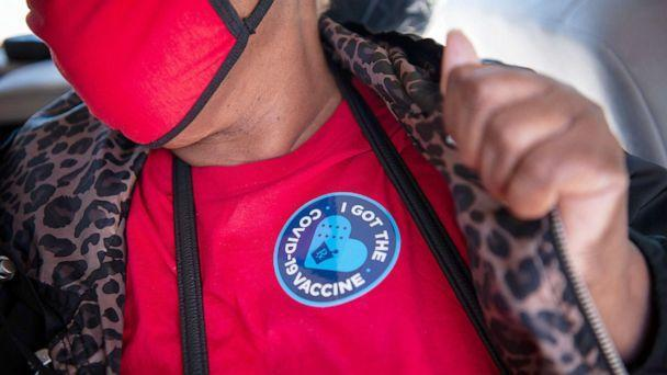 PHOTO: A person displays a sticker after receiving a dose of the Moderna Covid-19 vaccine at a medical clinic in Ruleville, Miss., March 4, 2021.  (Bloomberg via Getty Images, FILE)