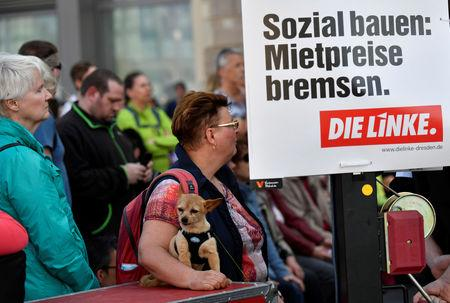 Visitors hear a speech of Gregor Gysi of the Left Party Die Linke  during a rally for the upcoming European Parliament elections in Dresden, Germany, April 24, 2019.  Picture taken April 24, 2019. REUTERS/Matthias Rietschel