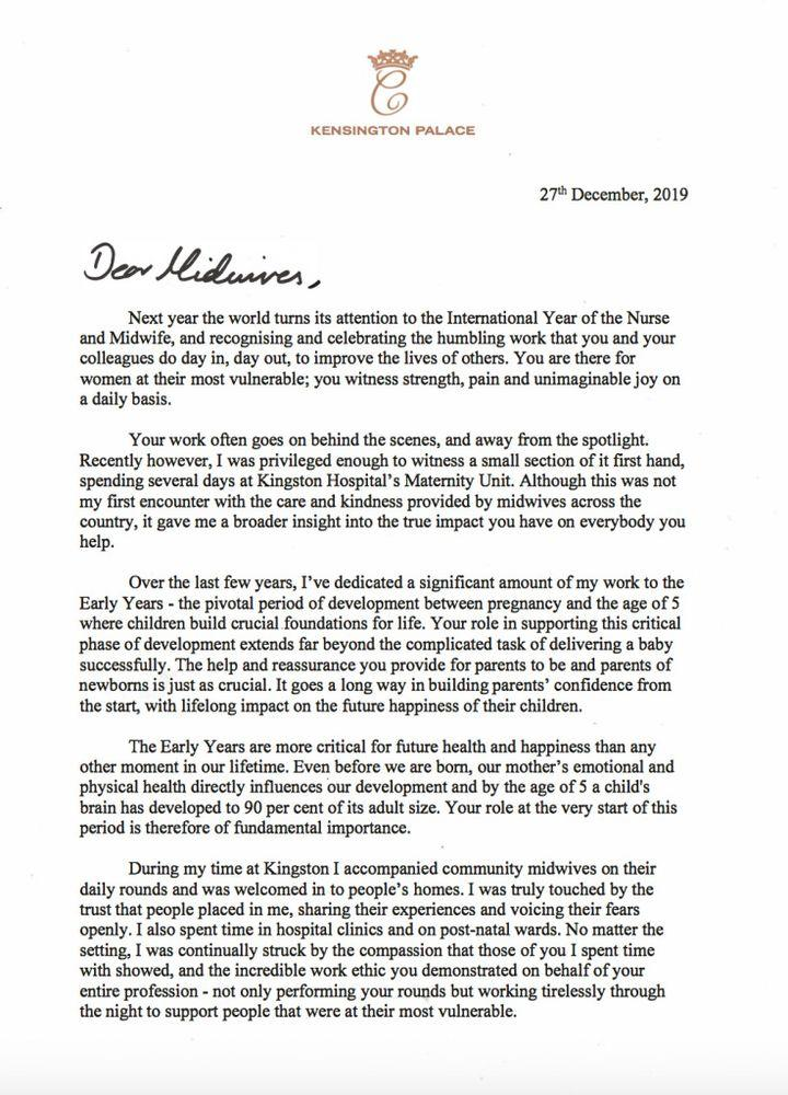 Kate Middleton's letter for International Year of the Nurse and Midwife (part one). | Kensington Palace
