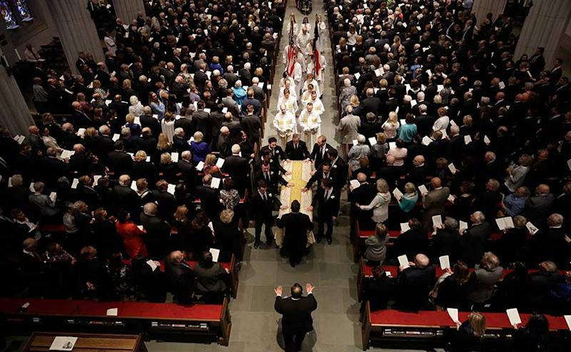 """The private funeral was held at the St Martin's Episcopal Church in Houston a day after more than 6,000 people paid their respects to the woman, known by many as """"America's matriarch."""" Around 1,500 invited guests attended the funeral to honour the life and legacy of Barbara Bush. AP"""