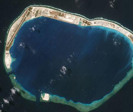 Satellite photo dated March 13, 2018 shows Mischief Reef. Planet Labs/Handout via REUTERS MANDATORY CREDIT