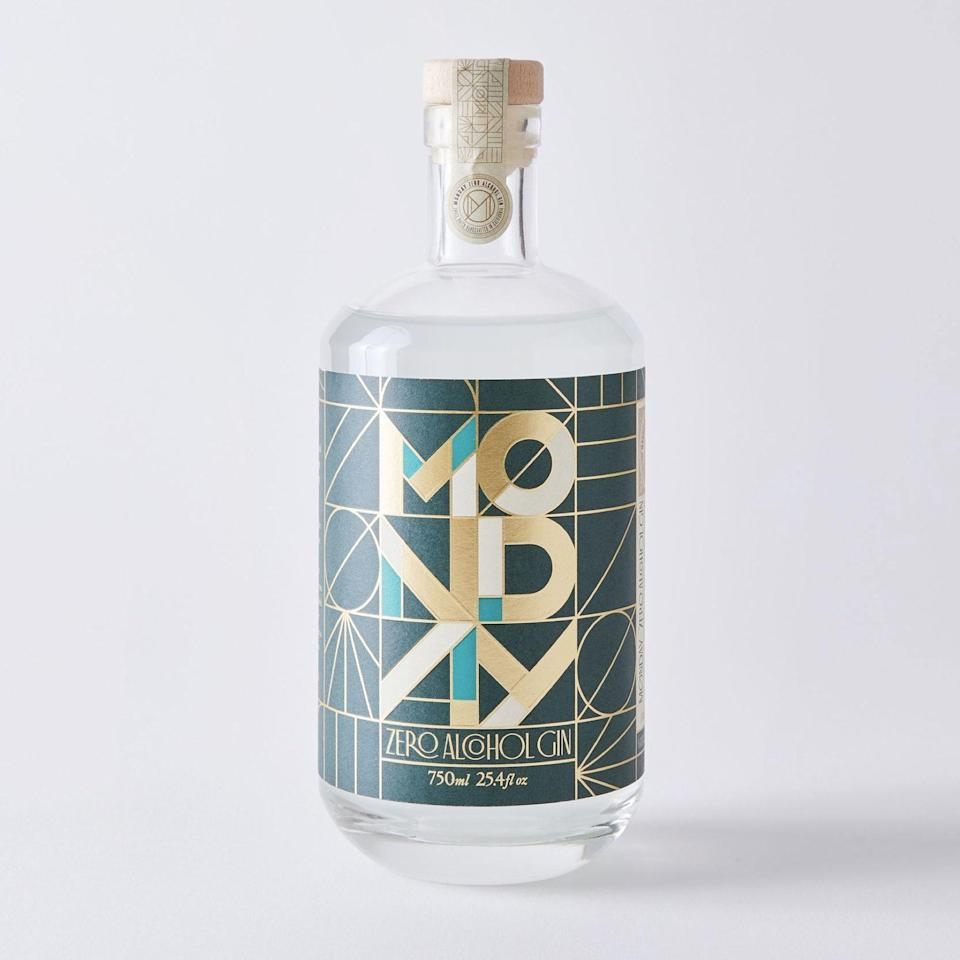 """If you're big on G&T's, Monday Zero will keep you happy during Dry January or any other time you're not feeling like the real thing. The family-owned Southern California distillery's aromatic mix of juniper, spices, and natural botanicals is free of gluten and sugar—and the Art Deco details will look opulent on top of any bar cart or kitchen counter. $40, Food52. <a href=""""https://food52.com/shop/products/7384-monday-non-alcoholic-gin"""" rel=""""nofollow noopener"""" target=""""_blank"""" data-ylk=""""slk:Get it now!"""" class=""""link rapid-noclick-resp"""">Get it now!</a>"""