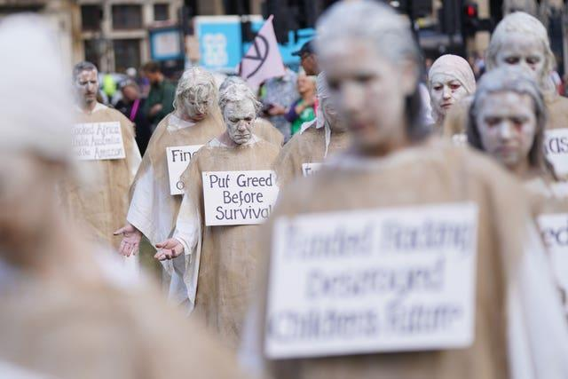 A protest by members of Extinction Rebellion in Parliament Square