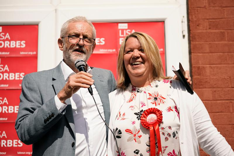 Labour are the second favourites with candidate Lisa Forbes, seen here with party leader Jeremy Corbyn (Photo by Christopher Furlong/Getty Images)