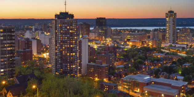 A view of downtown Hamilton, Ont., with Lake Ontario in the background. The city ranked third place in Bank of Montreal's list of the best cities for jobs and affordable living.