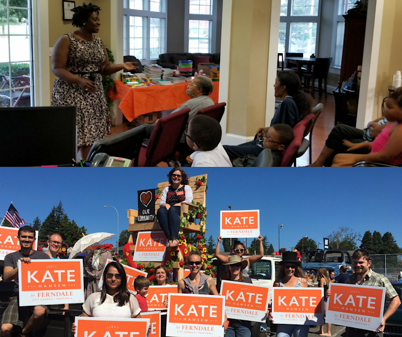 Erica Robbins (top) and Kate Hansen (bottom) on the campaign trail.