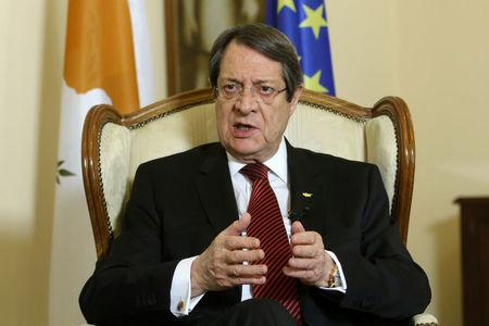 Cypriot President Nicos Anastasiades speaks during an interview with Reuters at the Presidential Palace in Nicosia