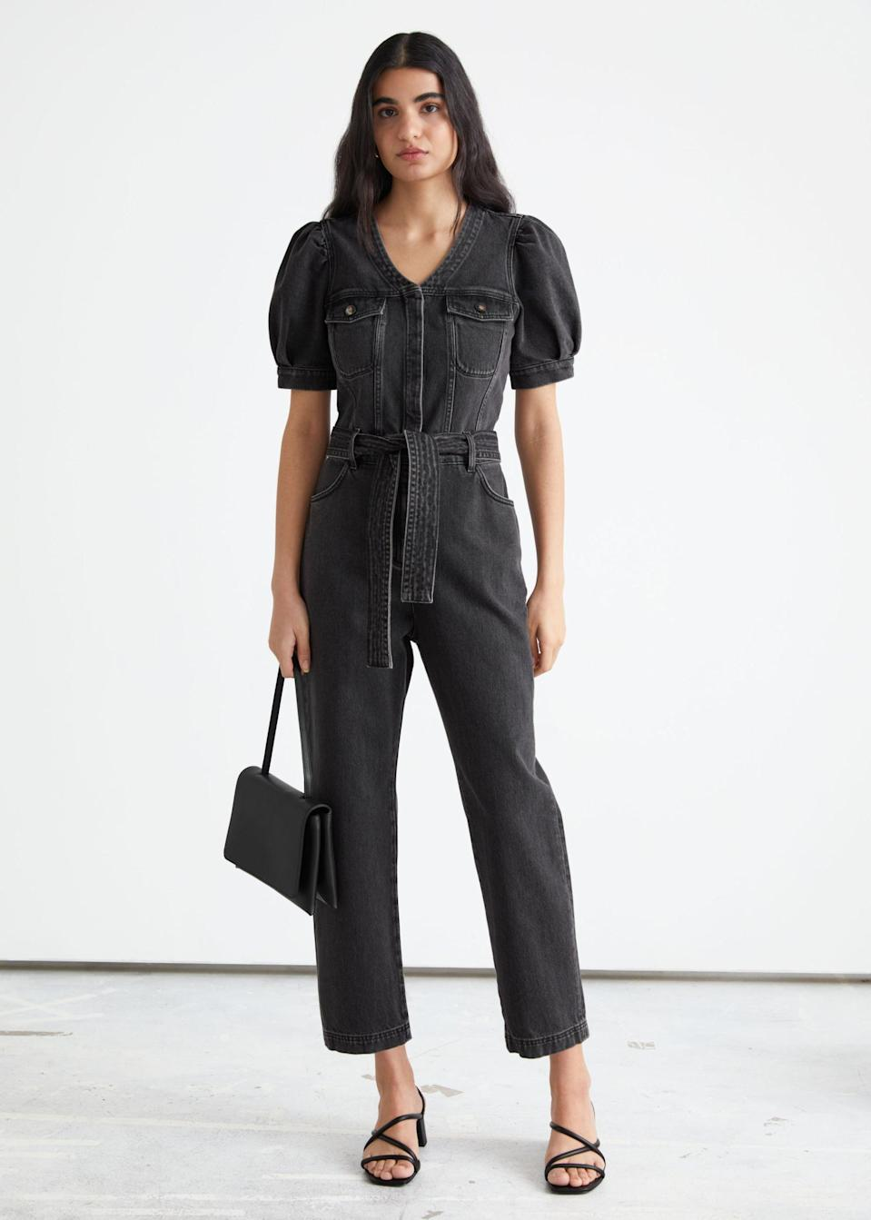 <p>This <span>&amp; Other Stories Relaxed Belted Puff Sleeve Jumpsuit</span> ($129) looks unique and flattering.</p>