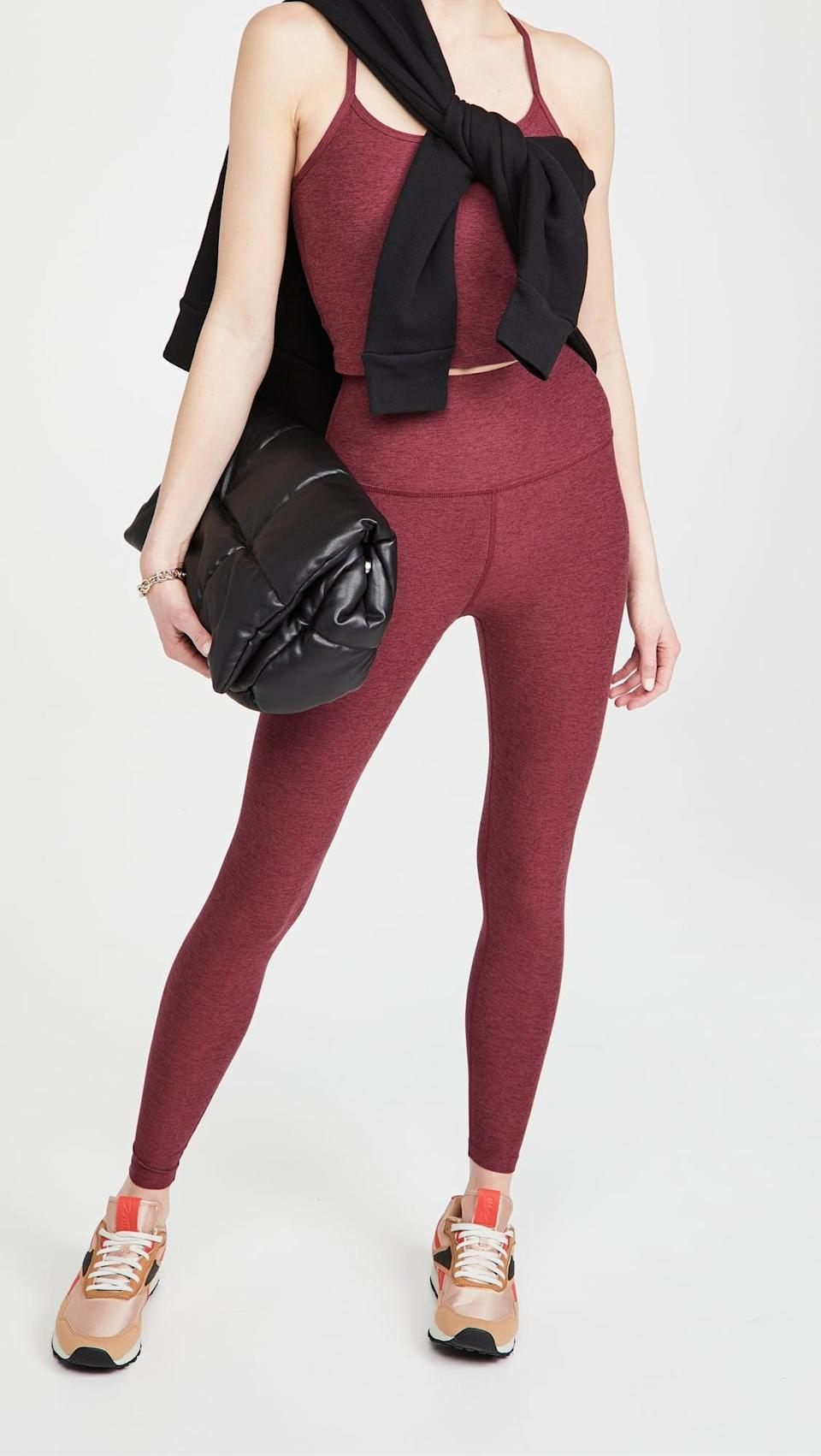 <p>Once you try on this flattering, comfortable <span>Beyond Yoga Spacedye Slim Racerback Cropped Tank</span> ($66) and <span>High Waisted Midi Leggings</span> ($97), you won't want to take it off.</p>