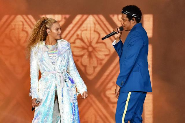 Beyoncé Knowles and Jay-Z perform on June 6 in Wales. (Photo: Kevin Mazur/Getty Images For Parkwood Entertainment)
