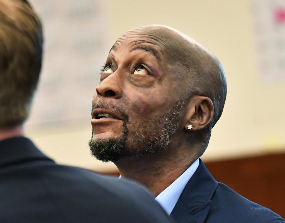 <p> FILE - In this July, 9, 2018, file photo, plaintiff DeWayne Johnson looks up during a brief break as the Monsanto trial in San Francisco. Monsanto is being accused of hiding the dangers of its popular Roundup products. A San Francisco jury on Friday, Aug. 10, 2018, ordered agribusiness giant Monsanto to pay $289 million to a former school groundskeeper dying of cancer, saying the company's popular Roundup weed killer contributed to his disease. The lawsuit brought by Johnson was the first to go to trial among hundreds filed in state and federal courts saying Roundup causes non-Hodgkin's lymphoma, which Monsanto denies. (Josh Edelson/Pool Photo via AP, File) </p>