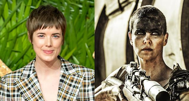 Short hair, don't care. Model Agyness Deyn and Charlize Theron in <em>Mad Max</em>. (Photos: Getty Images/Everett Collection)