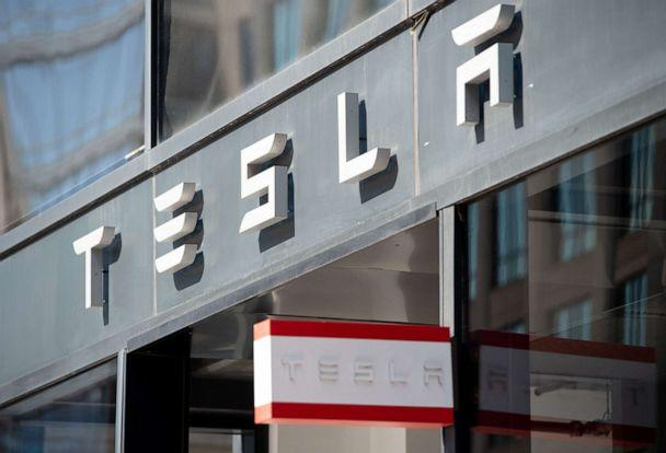 PHOTO:In this file photo taken on Aug. 8, 2018 the Tesla logo is seen outside of their showroom in Washington, D.C. (Saul Loeb/AFP via Getty Images, FILE)