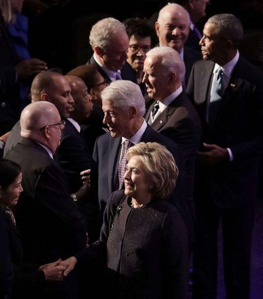 PHOTO: Former first lady Hillary Clinton, former President Bill Clinton, former Vice President Joe Biden and former President Barack Obama arrive at the funeral service for Rep. Elijah Cummings at New Psalmist Baptist Church, Oct. 25, 2019 in Baltimore. (Chip Somodevilla/Getty Images)