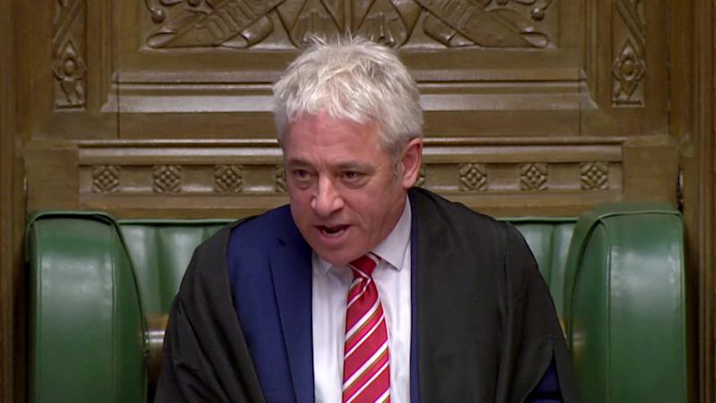 Speaker John Bercow is seen at the House of Commons in London, Britain, October 30, 2019, in this screen grab taken from video. Parliament TV via REUTERS