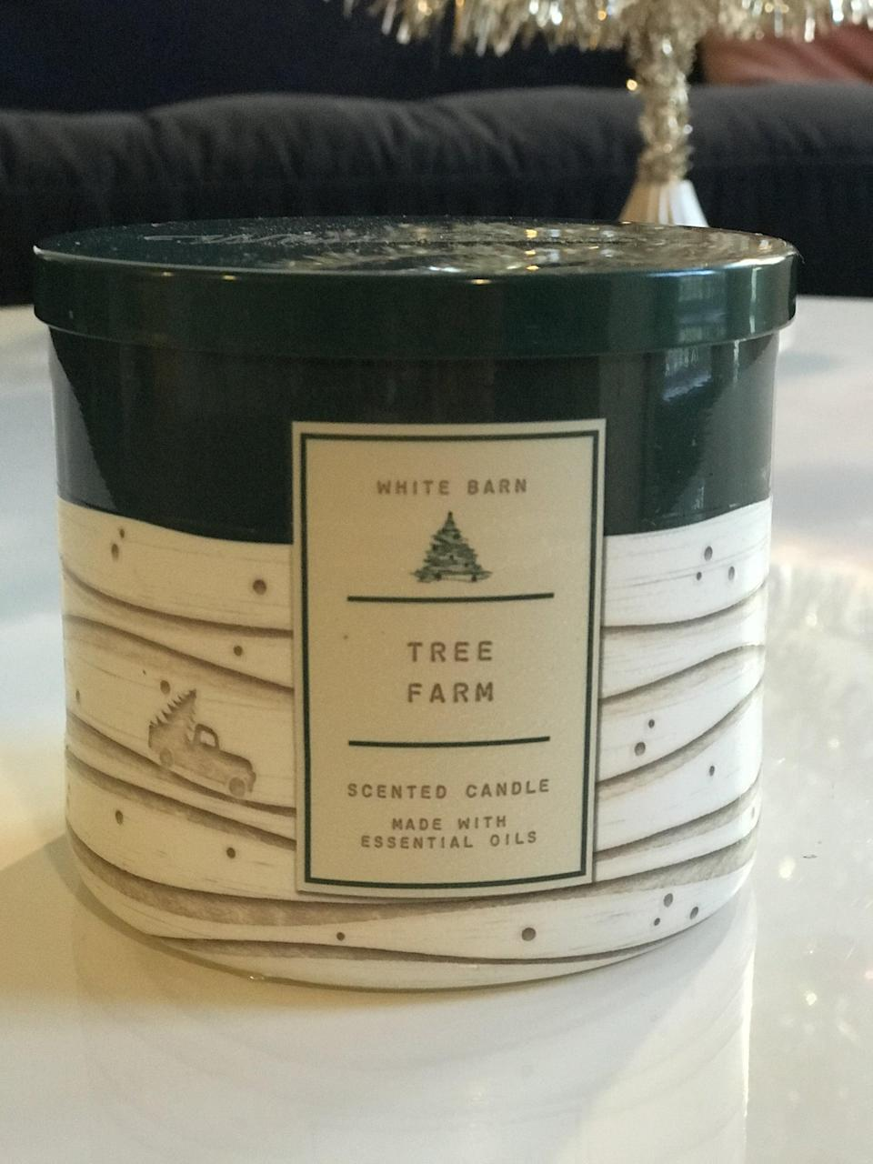 """<p><span>Tree Farm 3-Wick Candle</span> ($15, originally $25)</p> <p><strong>What It Smells Like:</strong> <a class=""""link rapid-noclick-resp"""" href=""""https://www.popsugar.com/Taylor-Swift"""" rel=""""nofollow noopener"""" target=""""_blank"""" data-ylk=""""slk:Taylor Swift"""">Taylor Swift</a> would probably love this candle. It smells like spending a day picking out your perfect Christmas tree.</p>"""