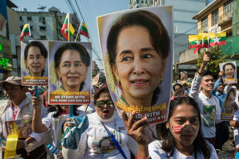 Demonstrators rally in Yangon in support of Myanmar leader Aung San Suu Kyi before her defence of the country at the UN in December (AFP Photo/Sai Aung Main)