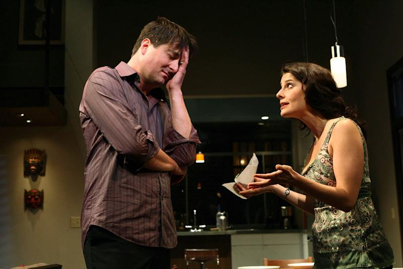 """FILE - In this photo 2006 file provided by The Publicity Office, Christopher Evan Welch and Mia Barron appear in a scene from """"The Pain and the Itch,'' by Bruce Norris at off-Broadway's Playwrights Horizons. Christopher Evan Welch, the actor whose roles on New York stages led to a series of film and television roles, including a regular spot on AMC's """"Rubicon,"""" has died in Southern California. His family said in a statement Wednesday that Welch died Dec. 2 in Santa Monica. He was 48 and had been diagnosed with lung cancer. (AP Photo/The Publicity Office/Joan Marcus, File)"""