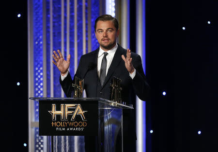 Actor Leonardo DiCaprio accepts the Hollywood Documentary Award at the Hollywood Film Awards in Beverly Hills