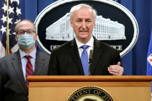 PHOTO: Deputy Attorney General Jeffrey A. Rosen holds a news conference to announce the results of the global resolution of criminal and civil investigations with an opioid manufacturer at the Justice Department in Washington, D.C., Oct. 21, 2020. (Yuri Gripas/Pool via AP)