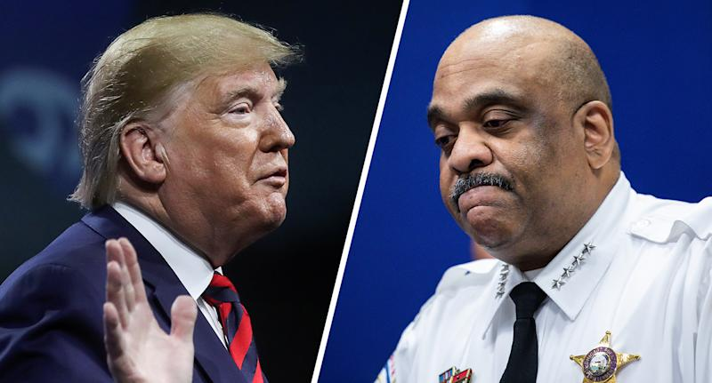 President Trump and Chicago Police Superintendent Eddie Johnson. (Photos: Leah Millis/Reuters, Zbigniew Bzdak/Chicago Tribune/Tribune News Service via Getty Images)