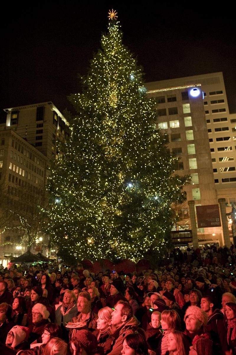 FILE - In this Nov. 26, 2010 file photo, a crowd watches as a Christmas tree is lit on Pioneer Courthouse square Friday night in Portland, Ore. where federal agents in a sting operation arrested a Somali-born teenager just as he tried blowing up a van full of what he believed were explosives at the crowded  ceremony.   Portland's fractious relationship with federal law enforcement was on full display during jury selection for the terrorism trial of the teenager. Prospective jurors repeatedly expressed reservations about the FBI's terrorism stings and the war on terror during approximately eight hours of questioning on Thursday, Jan. 10, 2013.(AP Photo/The Oregonian, Torsten Kjellstrand, File) MANDATORY CREDIT; MAGS OUT; NO SALES