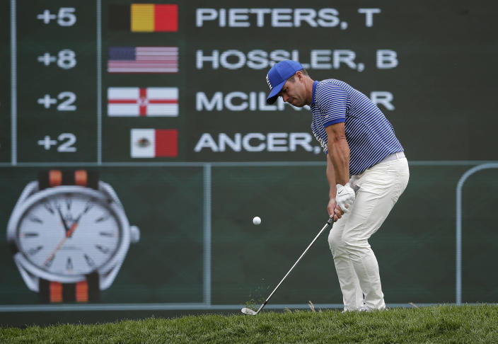 Paul Casey of England chips onto the 18th green during the final round of the PGA Championship golf tournament, Sunday, May 19, 2019, at Bethpage Black in Farmingdale, N.Y. (AP Photo/Seth Wenig)