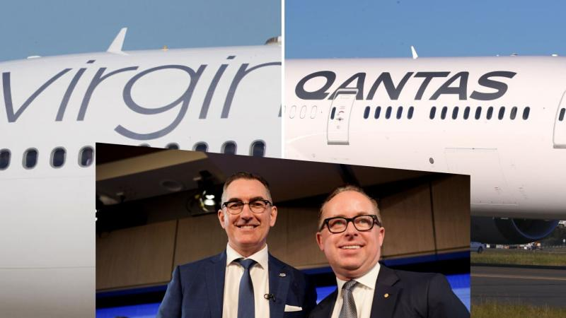 Virgin Australia plane on the left, Qantas plane on the right and centre inset showing the CEOs Paul Scurrah and Alan Joyce.