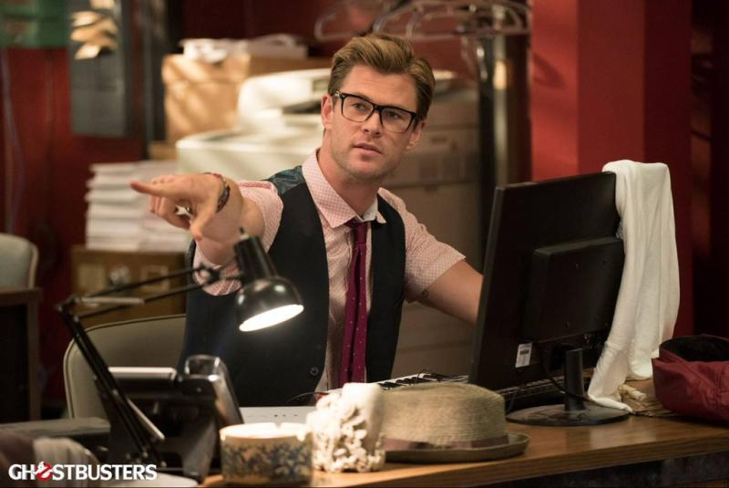 8e43409757 Chris Hemsworth Is Easy on the Eyes Behind Geek Glasses in New   Ghostbusters  Photo
