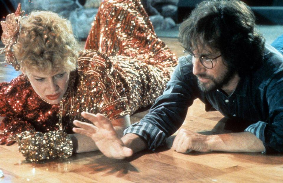 <p>Capshaw and Spielberg (the pair would eventually marry) on set of <em>Indiana Jones And The Temple Of Doom</em>.</p>
