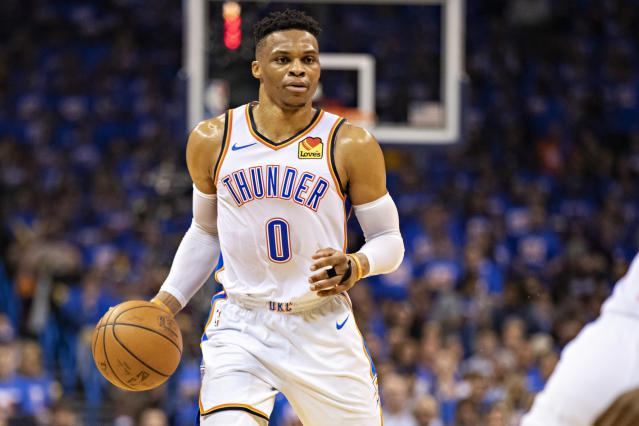 OKLAHOMA CITY, OK - APRIL 21: Russell Westbrook #0 of the Oklahoma City Thunder dribbles down the court during a game against the Portland Trail Blazers during Round One Game Three of the 2019 NBA Playoffs on April 21, 2019 at Chesapeake Energy Arena in Oklahoma City, Oklahoma (Photo by Wesley Hitt/Getty Images)