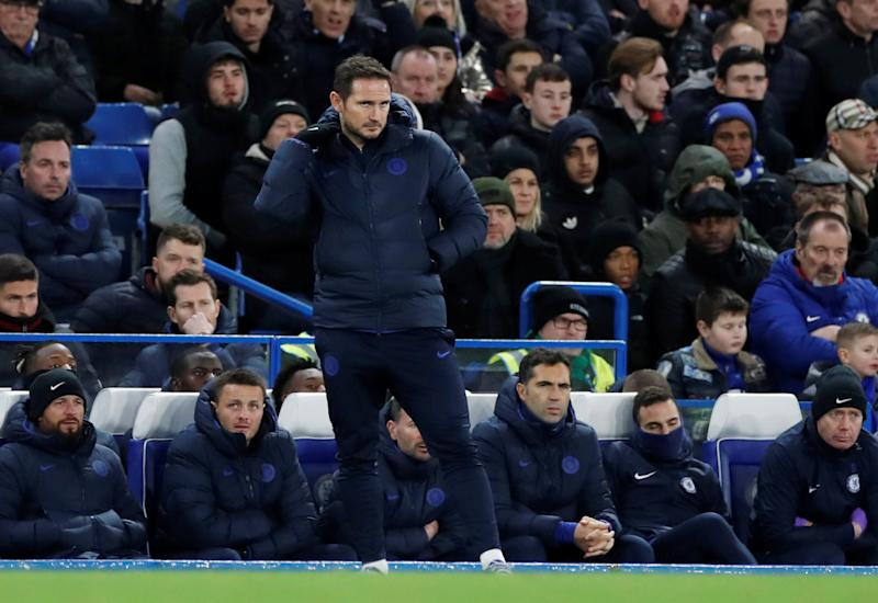 "Soccer Football - Premier League - Chelsea v Southampton - Stamford Bridge, London, Britain - December 26, 2019 Chelsea manager Frank Lampard looks dejected Action Images via Reuters/Paul Childs EDITORIAL USE ONLY. No use with unauthorized audio, video, data, fixture lists, club/league logos or ""live"" services. Online in-match use limited to 75 images, no video emulation. No use in betting, games or single club/league/player publications. Please contact your account representative for further details."