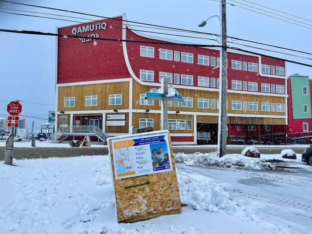 On Sept. 21, the day after the federal election, campaign posters for Adam Arreak Lightstone, the incumbent for the riding of Iqaluit-Manirajak, were already posted at this busy Iqaluit intersection. (Jane George/CBC - image credit)