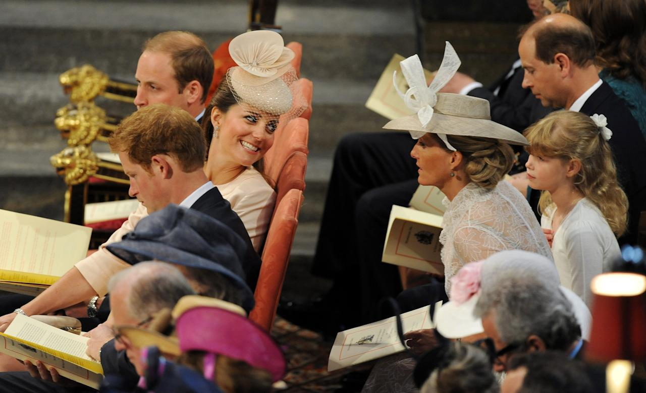 LONDON, UNITED KINGDOM - JUNE 4: Catherine, Duchess of Cambridge speaks to the Countess of Wessex during the service to celebrate the 60th anniversary of the Coronation of Queen Elizabeth II at Westminster Abbey, on June 4, 2013 in London, England. (Photo by Anthony Devlin - WPA Pool /Getty Images)
