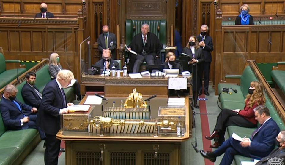 <p>Boris Johnson speaks during Prime Minister's Questions in the House of Commons</p> (PA)
