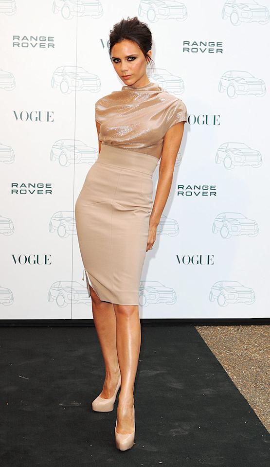 """Victoria Beckham -- who was recently named Creative Design Director for the special edition Range Rover Evoque, which will hit showrooms next year -- attended a party to celebrate the fashionable collaboration. The Range Rover-driving diva popped a pose in a fierce, nude-colored frock from her own collection, along with Brian Atwood patent pumps. Mike Marsland/<a href=""""http://www.wireimage.com"""" target=""""new"""">WireImage.com</a> - July 1, 2010"""