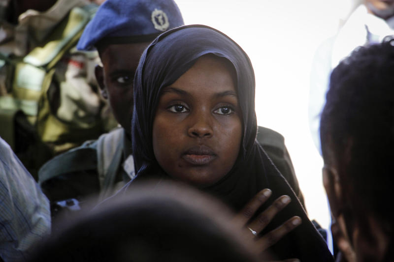 Ilwad Elman, who was reportedly shortlisted for this year's Nobel Peace Prize, attends the funeral service for her sister, Somali Canadian peace activist Almaas Elman, in the capital Mogadishu, Somalia Friday, Nov. 22, 2019. Preliminary investigations show Almaas Elman was killed by a stray bullet inside a heavily defended base near the international airport earlier this week in Mogadishu, the peacekeeping mission in Somalia said Friday. (AP Photo/Farah Abdi Warsameh)