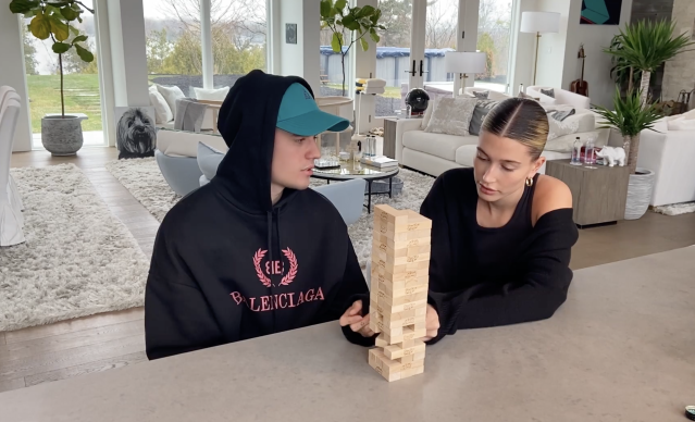 Justin Bieber and Hailey Baldwin continue to share their quarantine experience — discussing life and acne — in their Facebook Watch series, <em>The Biebers</em>. (Screenshot: Facebook Watch)