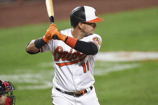 Baltimore Orioles shortstop Jose Iglesias (11) at bat during the fourth inning of a baseball game against the Atlanta Braves, Tuesday, Sept. 15, 2020, in Baltimore. (AP Photo/Terrance Williams)