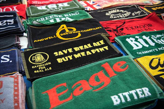 <p>Bar towels are displayed for sale at the CAMRA (Campaign for Real Ale) Great British Beer festival at Olympia exhibition center on August 8, 2017 in London, England. (Photo: Carl Court/Getty Images) </p>
