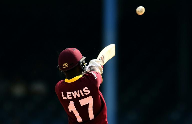 West Indies' Evin Lewis plays a shot during the third of four-T20I-match between West Indies and Pakistan at the Queen's Park Oval in Port of Spain, Trinidad, on April 1, 2017