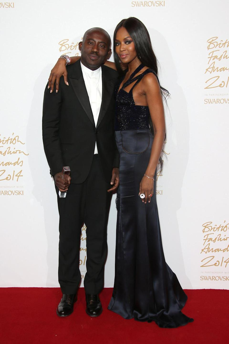 """""""I'm so happy to give it to him,"""" Naomi Campbell, wearing a custom Alexander McQueen gown, proclaimed after presenting Edward Enninful the Isabella Blow Award for Fashion Creator. """"He pushes boundaries … and reminds us that black is beautiful,"""" she said."""