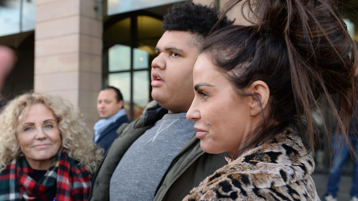 Katie Price has campaigned around social media abuse on behalf of her son Harvey. (Nick Ansell/PA Images via Getty Images)