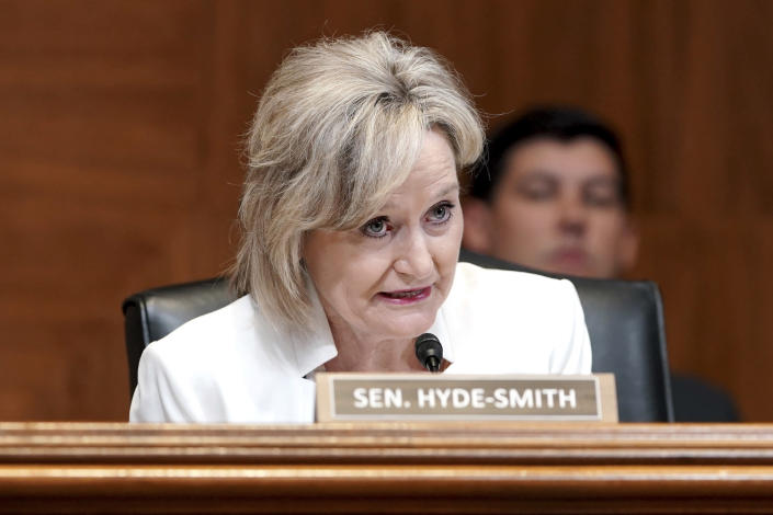 Sen. Cindy Hyde-Smith, R-Miss., questions Treasury Secretary Janet Yellen during a Senate Appropriations Subcommittee hearing to examine the FY 2022 budget request for the Treasury Department, Wednesday, June 23, 2021, on Capitol Hill in Washington. (Greg Nash/Pool via AP)