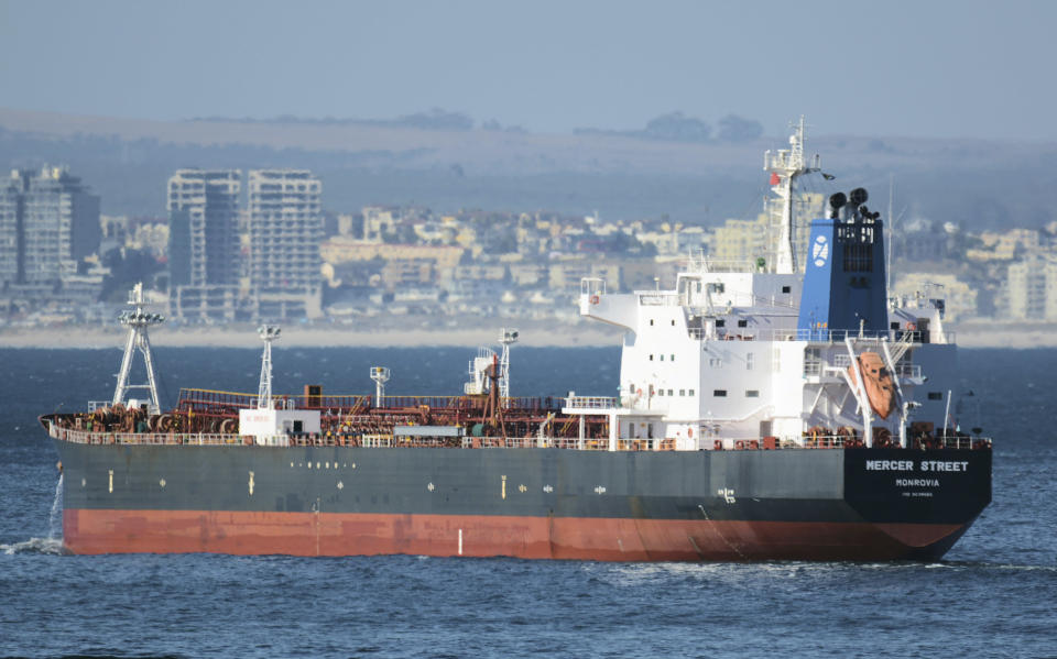 This Jan. 2, 2016 photo shows the Liberian-flagged oil tanker Mercer Street off Cape Town, South Africa. The oil tanker linked to an Israeli billionaire reportedly came under attack off the coast of Oman in the Arabian Sea, authorities said Friday, July 30, 2021, as details about the incident remained few. (Johan Victor via AP)